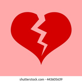 Red heart with crack - symbol of heart attack or broken heart after breakup of love relationship