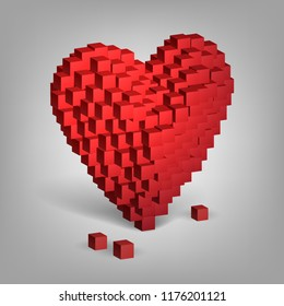 Red heart from cubes, valentine's day, love
