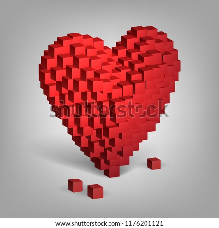 Red heart from cubes