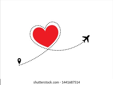 red heart dash route design red heart route vector design Airplane line path icon of air plane flight route with start point and dash line trac. illustration
