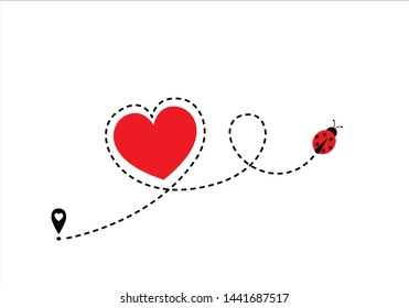 red heart dash route design red heart butterfly   dash route design red heart route vector design Airplane line path icon of air plane flight route with start point and dash line trac. illustration