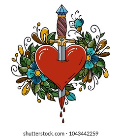Red heart decorated with flowers pierced with dagger. Tatoo dagger piercing heart with dripping blood. Heart bleeding. Retro tattoo. Old school retro vector illustration.