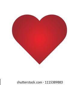 Red heart design icon flat. Modern flat valentine love sign. Trendy vector hart shape, symbol for web site design, button to mobile app. Logo heart illustration.