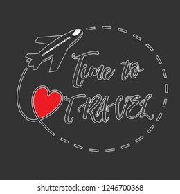 Red heart with dotted line and airplane. Time to travel. Love Travel Concept Design. Vector illustration.