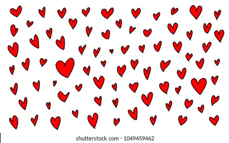 Red heart drawings on white background, Vector