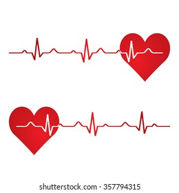 Red heart with ekg on white - medical design.vector
