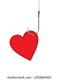 red heart, fishing hook, love concept
