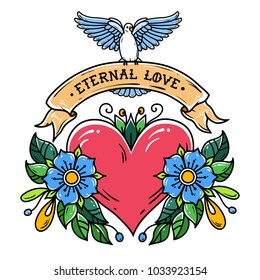 Red heart with flowers, ribbon and white dove. Eternal Love. Old school tattoo. Holiday illustration.Valentines Day.