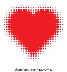 Red Heart Halftone logo, vector Illustration