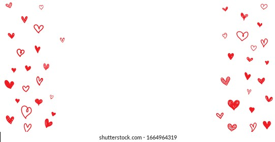 Red heart hand drawn floating isolated on white background. Vector illustration.