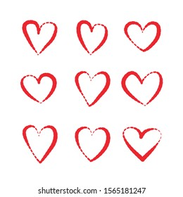 Red Heart hand drawn icons vector set isolated on white background. For Valentine's day, banners, posters and wallpaper. Collection of hearts for creative art. Hearts of love.