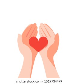 Red heart in the hands of man. A symbol of goodness, mercy, hope and love. Vector illustration in flat style.