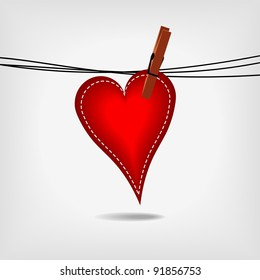 red heart hanging on washing line on gray background - vector illustration