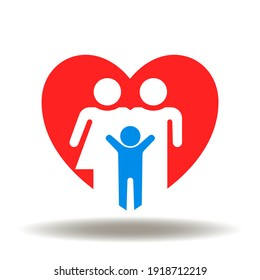 Red heart and happy family vector icon. People care symbol. Safety health sign. Kids and parenting love illustration.