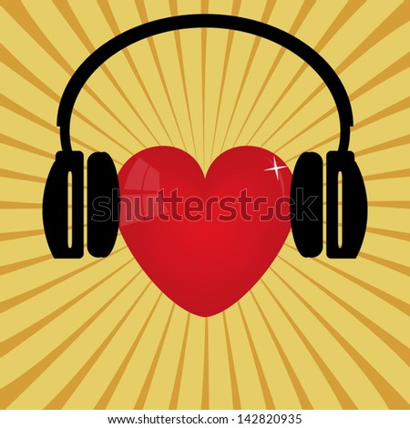 9aaccf56f53 Red Heart Headphones Stock Vector (Royalty Free) 142820935 ...