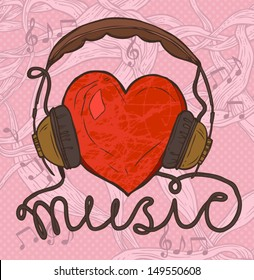 red heart with headphones, hand drawn funny illustration of music concept