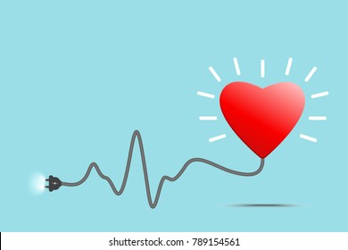Heartbeat Line Art : Red heart heartbeat line wire plug stock vector royalty free