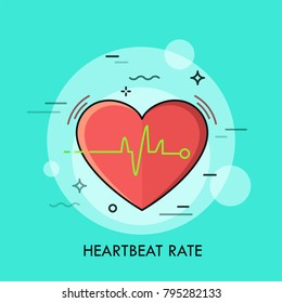 Red heart and heartbeat rate rhythm or electrocardiogram. Concept of healthcare, cardiology, electrocardiography, first aid, medical care. Creative vector illustration for website, banner, poster.