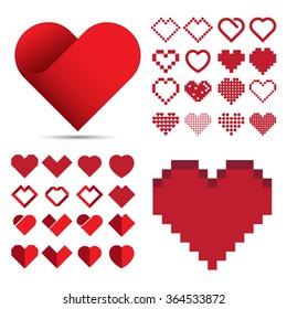 Red heart icon set . Illustration eps10