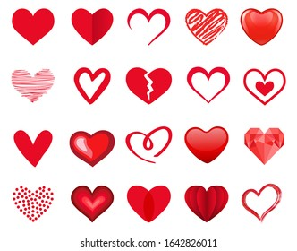 Red heart icon set. Vector illustration