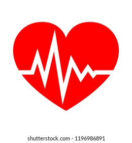 Red heart icon with sign heartbeat in flat design. Vector illustration. Medical symbol