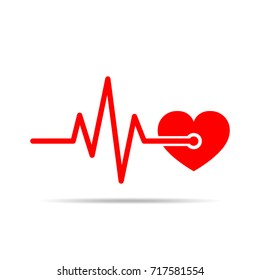 Red heart icon with sign heartbeat. Vector illustration. Heart in flat design.