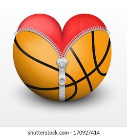 Red heart inside basketball ball. Symbol of love for the sport. Vector illustration, isolated.