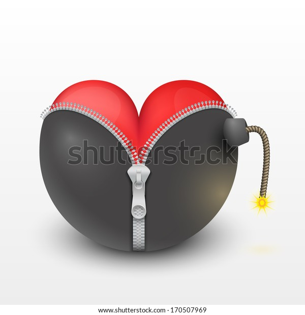 Red heart inside the black bombs. Illustration of peace and friendliness. Vector, isolated and editable