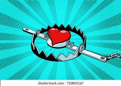 Red heart in an iron trap. Love and romance. Pop art retro vector illustration
