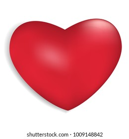 Red heart isolated on white background. Vector illustration.