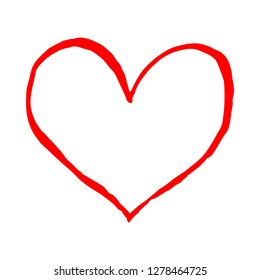 Red heart isolated on white background. Sketch drawing was drawn with the brush and ink. The design graphic element is saved as a vector illustration in the EPS file format.