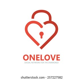 Red heart lock vector logo