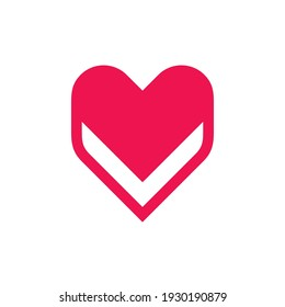 Red heart logo design, abstract love icon, isolated on white background