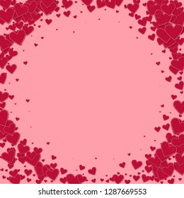Red heart love confettis. Valentine's day vignette beautiful background. Falling stitched paper hearts confetti on pink background. Extraordinary vector illustration.