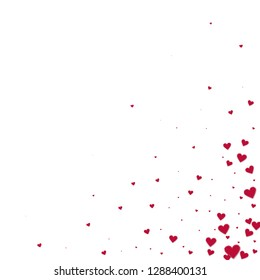Red heart love confettis. Valentine's day corner marvelous background. Falling stitched paper hearts confetti on white background. Elegant vector illustration.