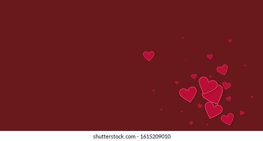 Red heart love confettis. Valentine's day explosion superb background. Falling stitched paper hearts confetti on maroon background. Delightful vector illustration.