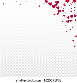 Red heart love confettis. Valentine's day corner noteworthy background. Falling stitched paper hearts confetti on transparent background. Delightful vector illustration.