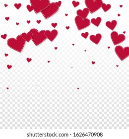 Red heart love confettis. Valentine's day falling rain breathtaking background. Falling stitched paper hearts confetti on transparent background. Cool vector illustration.