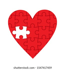 red heart made of puzzles, missing puzzle, vector illustration