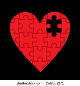 red heart made of puzzles, missing piece, black background, vector illustration