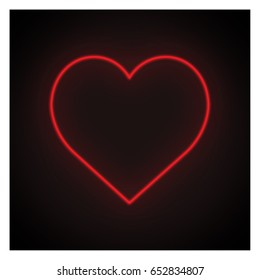 Red heart neon light on black background