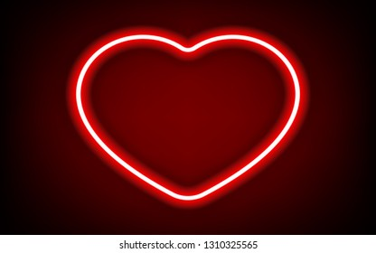red heart neon tube frame with shadow for pattern and design.