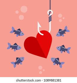 Red heart on fishing hook and fishes swimming. Love, flirtation or pickup concept. Vector illustration
