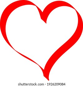 Red heart - outline drawing for an emblem or logo. Template for greeting card for Valentine's Day.