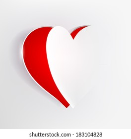 red heart in a page