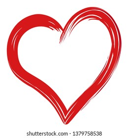 Red Heart Painted with Brush Isolated on White Background. Vector Illustration