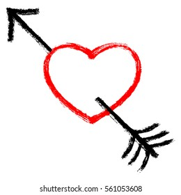 Red heart pierced by an black arrow. Popular symbol created with texture in handmade watercolor technique. Vector illustration a graphic element.