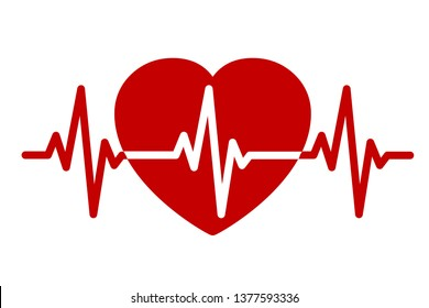 Red heart, pulse one line, cardiogram sign, heartbeat - stock vector