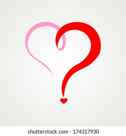Red heart question mark  isolated on White background. Vector illustration