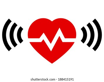 Red heart with rate and radio signal from both sides